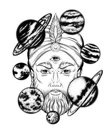 Vector hand drawn illustration of fortune teller with planets. Surreal artwork. Template for card, poster. banner, print for t-shirt, pin, badge, patch. Vettoriali