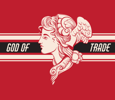 God of trade. Vector hand drawn illustration