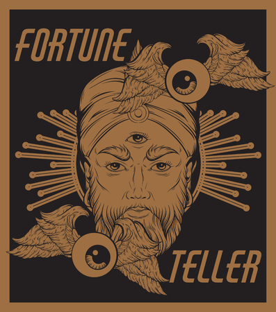 Vector hand drawn illustration of fortune teller with flying eyeballs. Surreal artwork. Template for card, poster. banner, print for t-shirt, pin, badge, patch. Illustration