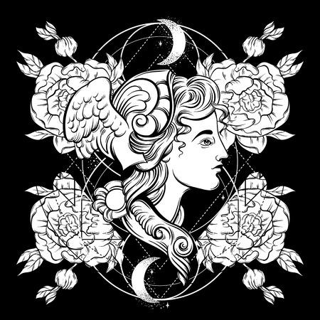 Vektor handgezeichnete Illustration von Hermes mit Blumen. Vorlage für Karte, Poster. Banner, Druck für T-Shirt, Pin, Abzeichen, Patch.