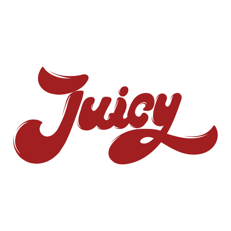 Juicy. Handwritten lettering. Template for card, poster. banner, print for t-shirt, pin, badge, patch. Stock Illustratie