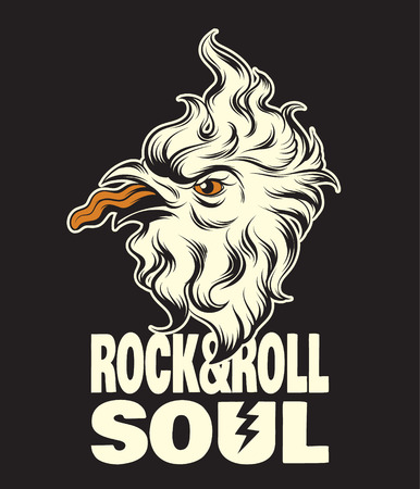 Rock&Roll soul. Quote typographical background. Vector hand drawn illustration of crazy bird with tongue. Template for card, poster. banner, print for t-shirt, pin, badge, patch. Illustration