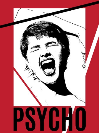 Psycho. Vector hand drawn illustration of screaming girl . Template for card, poster. banner, print for t-shirt, pin, badge, patch. Vektorové ilustrace