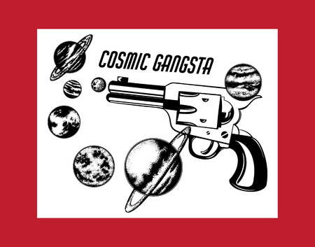 Kosmischer Gangster. Vektor handgezeichnete Illustration der Pistole mit Planeten. Kreatives Tattoo-Kunstwerk. Vorlage für Karte, Poster. Banner, Druck für T-Shirt, Pin, Abzeichen, Patch.