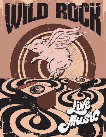 Roca salvaje. Música en vivo. Ilustración de dibujado a mano de vector de paisaje surrealista con cerdo volador. Plantilla para tarjeta, cartel. pancarta, impresión para camiseta, pin, insignia, parche.