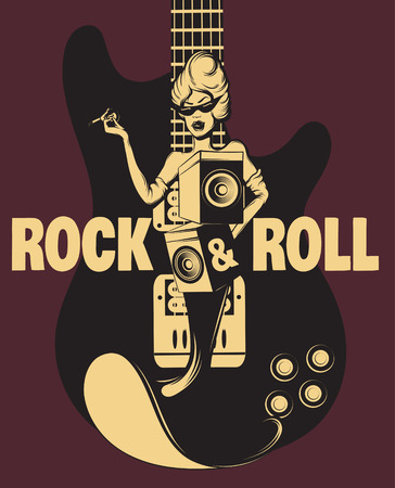 Rock tour. Vector hand drawn surreal illustration of woman with sound system speakers and guitar. Template for card, poster. banner, print for t-shirt, pin, badge, patch. Ilustracja