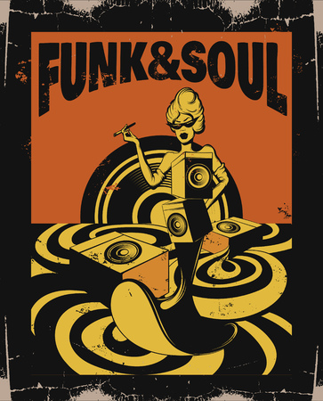 Funk & soul. Vector hand drawn illustration of surreal landscape with woman. Template for card, poster. banner, print for t-shirt, pin, badge, patch. Vettoriali