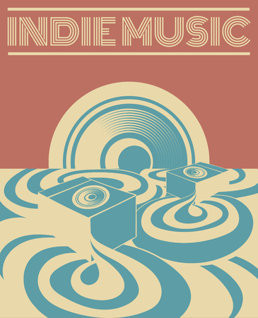 Indie music. Vector hand drawn illustration of surreal landscape with sound system. Template for card, poster. banner, print for t-shirt, pin, badge, patch. Illustration