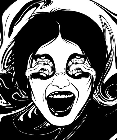 Vector hand drawn illustration of woman with mouths instead eyes. Template for card, poster. banner, print for t-shirt, pin, badge, patch.