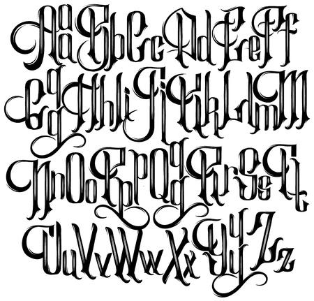 Police gothique manuscrite vectorielle pour un lettrage unique. Typographie pour carte, affiche, bannière, impression pour t-shirt, étiquette, badges, titres.