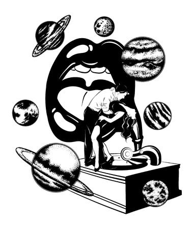 Vektorhand gezeichnete Illustration des tanzenden Paares auf dem Grammophon mit menschlichem Mund. Surreale Tätowierungsgrafik mit Planeten. Vorlage für Karte, Poster. Banner, Druck für T-Shirt, Anstecknadel, Abzeichen, Aufnäher.