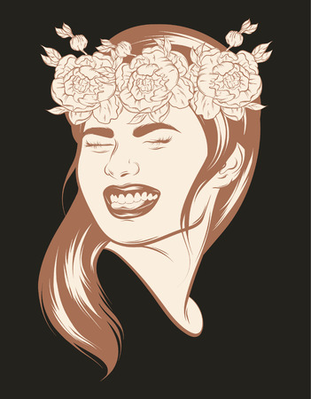 Vector hand drawn realistic illustration of happy girl with flowers isolated. Creative artwork. Template for card, poster. banner, print for t-shirt, pin, badge, patch and label. Ilustração