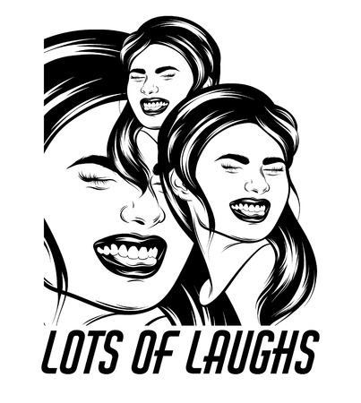 Lots of laughs. Vector hand drawn realistic illustration of happy girl with smile isolated. Creative artwork. Template for card, poster. banner, print for t-shirt, pin, badge, patch and label.
