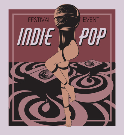 Indie music. Vector poster with hand drawn illustration of microphone with female legs. Template for card, banner, print for t-shirt, pin, badge, patch.