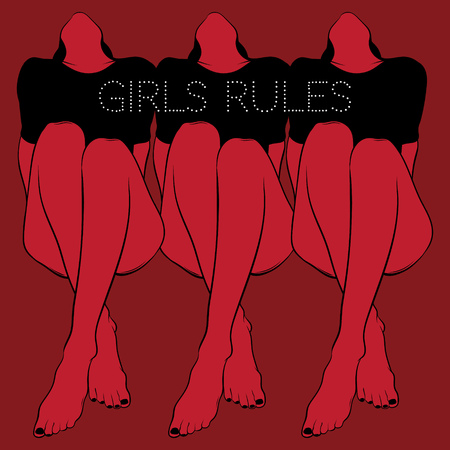 Girls rules. Vector poster with hand drawn illustration of pretty girls . Template for card, banner, print for t-shirt, pin, badge, patch.