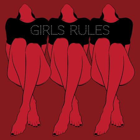 Regole delle ragazze. Manifesto di vettore con illustrazione disegnata a mano di belle ragazze. Modello per carta, banner, stampa per t-shirt, spilla, badge, patch.