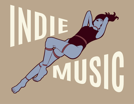 Indie music. Vector poster with hand drawn illustration of surreal girl. Template for card, poster. banner, print for t-shirt, pin, badge, patch.
