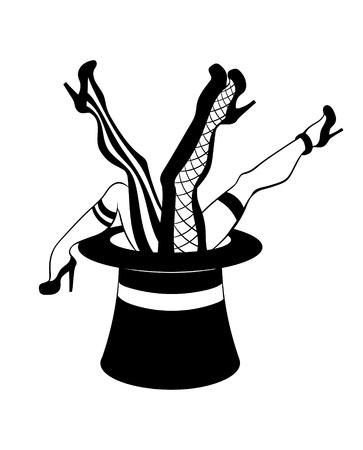 Vektorplakat mit der handgezeichneten kreativen Illustration der Beine im Zylinder. Kreatives Tattoo-Kunstwerk. Vorlage für Karte, Banner, Druck für T-Shirt, Anstecknadel, Abzeichen, Aufnäher. Vektorgrafik