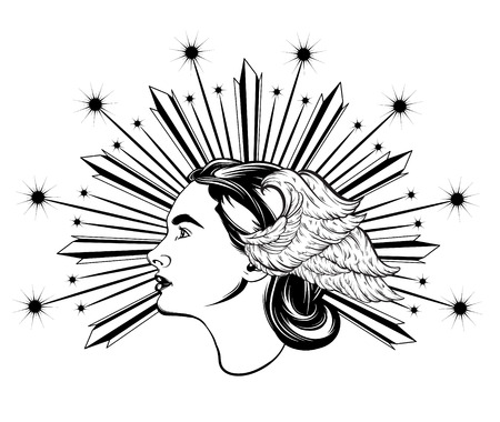 Vector hand drawn illustration of pretty lady with wings and rays isolated. Creative tattoo artwork. Template for card, poster, banner, print for t-shirt, pin, badge, patch.