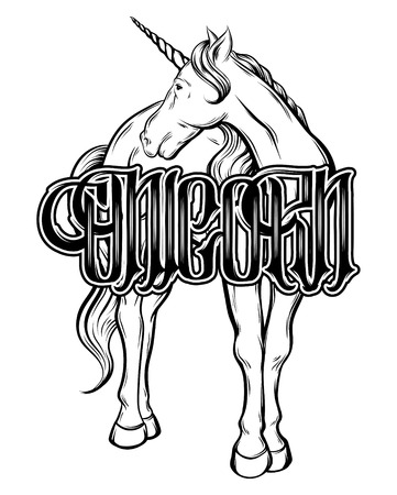 Unicorn. Vector handwritten lettering with hand drawn illustration of unicorn isolated . Template for card, poster. banner, print for t-shirt, pin, badge, patch.