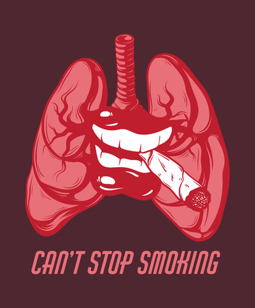 Vector hand drawn illustration of mouth with cigarette and human lungs . Template for card, poster. banner, print for t-shirt, pin, badge, patch. Illustration