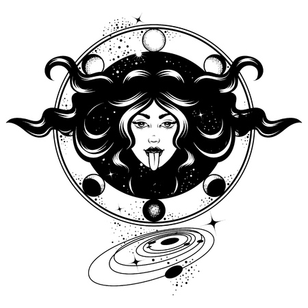Vector hand drawn illustration of woman with planets isolated. Creative tattoo artwork. Template for card, poster, banner, print for t-shirt, pin, badge, patch.
