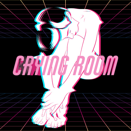Crying room. Vector hand drawn illustration of sad girl. Surreal artwork made in vapowave style. Template for card, poster, banner, print for t-shirt, pin, badge, patch. Illustration