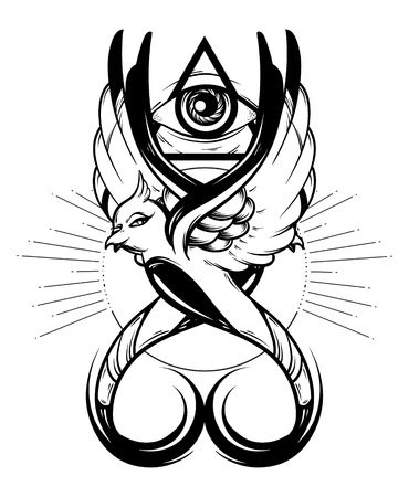 Vector hand drawn illustration of birds with all seeing eye isolated . Creative tattoo artwork. Template for card, poster, banner, print for t-shirt, pin, badge, patch.
