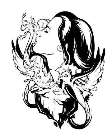 Vector hand drawn illustration of woman with birds, rocks and waves isolated. Creative tattoo artwork. Template for card, poster, banner, print for t-shirt, pin, badge, patch.