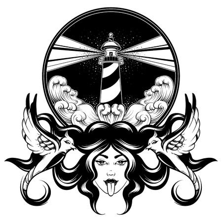 Vektor handgezeichnete Illustration der Frau mit Vögeln und Landschaft mit Meereswellen und Leuchtturm. Kreatives Tattoo-Kunstwerk. Vorlage für Karte, Poster, Banner, Druck für T-Shirt, Pin, Abzeichen, Patch.