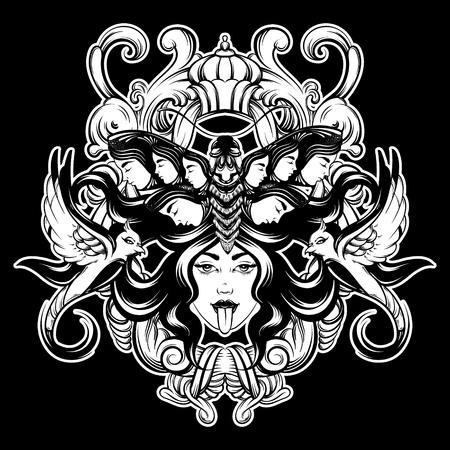 Ilustración de dibujado a mano de vector de mujer con pájaros, polilla y marco barroco aislado. Arte creativo del tatuaje. Plantilla para tarjeta, póster, pancarta, impresión para camiseta, pin, insignia, parche. Ilustración de vector