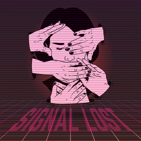 Signal lost. Vector poster with hand drawn illustration of girl with hands . Artwork made in vaporwave style. Template for card, banner, print for t-shirt, pin, badge, patch.