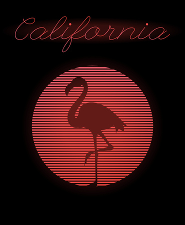 California. Vector poster with silhouette of flamingo and circle made in vaporwave style. Template for card, banner, print for t-shirt, pin, badge, patch.
