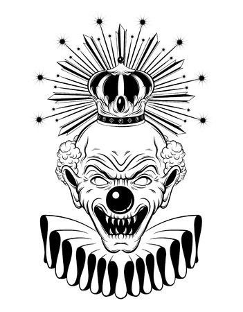 Vector hand drawn illustration of angry clown in baroque crown isolated. Template for card, poster, banner, print for t-shirt, pin, badge, patch.