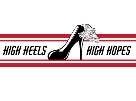 High heels, high hopes. Vector hand drawn illustration of shoe with wing . Template for card, poster, banner, print for t-shirt, pin, badge, patch. Иллюстрация
