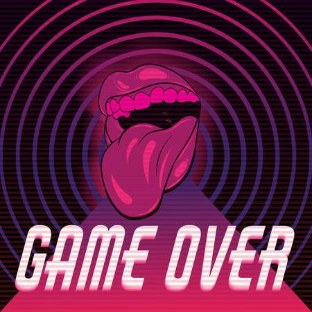Game over. Vector poster with hand drawn illustration of mouth with tongue. Artwork made in vaporwave style. Template for card, banner, print for t-shirt, pin, badge, patch.