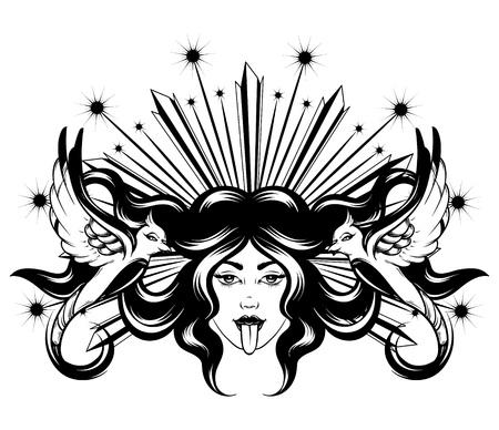 Gezeichnete Illustration des Vektors Hand der Frau mit den Vögeln lokalisiert. Kreatives Tattoo-Kunstwerk. Vorlage für Karte, Poster, Banner, Druck für T-Shirt, Pin, Abzeichen, Patch. Vektorgrafik