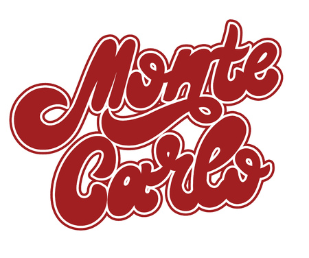Monte Carlo. Vector hand drawnlettering isolated on white background . Template for card, tattoo, poster, banner, print for t-shirt, pin, badge, patch.
