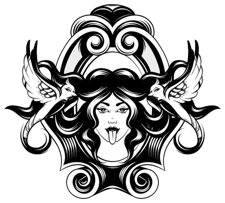 Vector hand drawn illustration of woman with tongue and birds with long hair in frame. Creative realistic tattoo artwork. Template for card, poster, banner, print for t-shirt, pin, badge, patch.