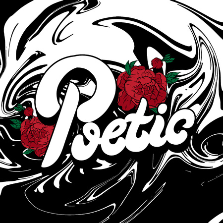 Vector handwritten lettering with hand drawn illustration of flowers . Template for card, poster, banner, print for t-shirt, pin, badge, patch.