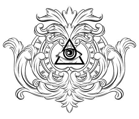 Vektorhand gezeichnete Illustration aller sehenden Augen im Rahmen. Kreatives realistisches Tattoo-Kunstwerk. Vorlage für Karte, Plakat, Banner, Druck für T-Shirt, Anstecknadel, Abzeichen, Aufnäher.