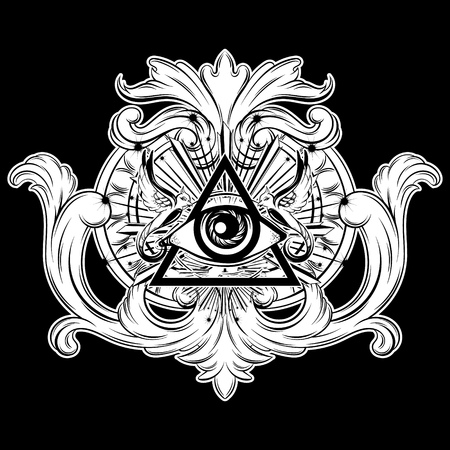 Vector hand drawn illustration of all seeing eye in frame. Creative realistic tattoo artwork. Template for card, poster, banner, print for t-shirt, pin, badge, patch. Vektorgrafik