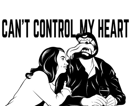 Can't control my heart. Vector hand drawn surreal illustration of two lovers . Creative tattoo artwork. Template for card, poster, banner, print for t-shirt, pin, badge, patch. Illustration