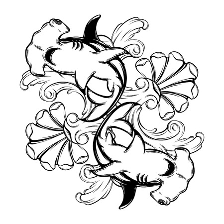 Vector hand drawn illustration of hammerhead shark isolated. Creative tattoo artwork. Template for card, poster, banner, print for t-shirt, pin, badge, patch.