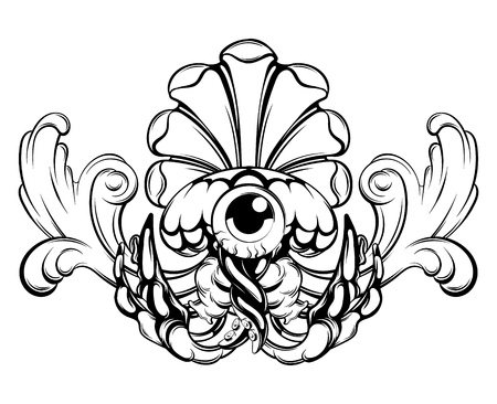 Vector hand drawn illustration of jelly fish with baroque element isolated . Creative tattoo artwork. Template for card, poster, banner, print for t-shirt, pin, badge, patch. Illustration