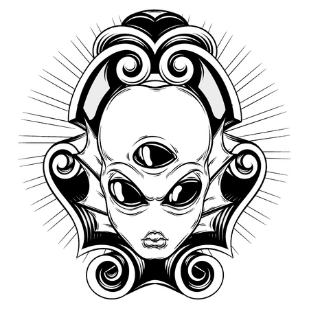 Vector hand drawn illustration of angry alien with three eyes and baroque frame isolated . Creative tattoo artwork. Template for card, poster, banner, print for t-shirt, pin, badge, patch.