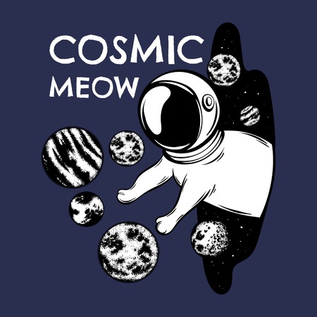 Cosmic meow. Vector hand drawn illustration of cat in space helmet with planets. Template for card, poster, banner, print for t-shirt, pin, badge, patch.