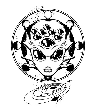 Vector hand drawn illustration of angry alien with many eyes and planets isolated . Creative tattoo artwork. Template for card, poster, banner, print for t-shirt, pin, badge, patch. 向量圖像