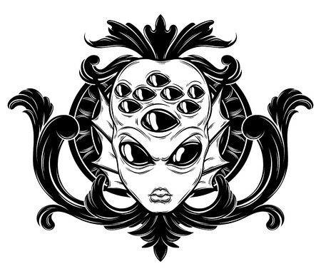 Vector hand drawn illustration of angry alien with many eyes and baroque frame isolated . Creative tattoo artwork. Template for card, poster, banner, print for t-shirt, pin, badge, patch. 向量圖像