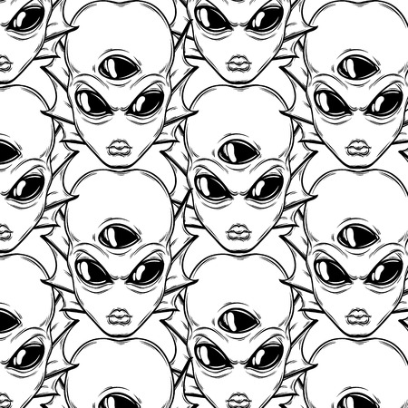 Vector pattern with hand drawn illustration of angry alien with three eyes isolated . Template for card, poster, banner, print for t-shirt, pin, badge, patch.